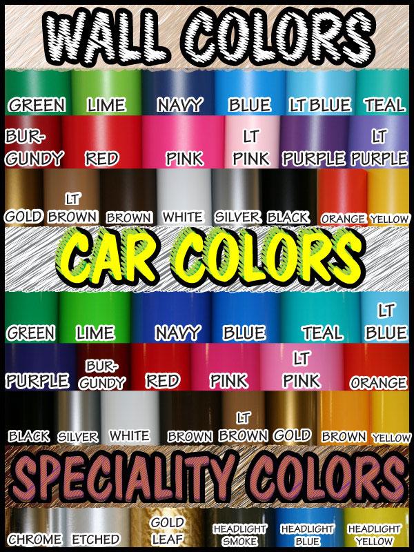 VinylDisorder.com Color chart